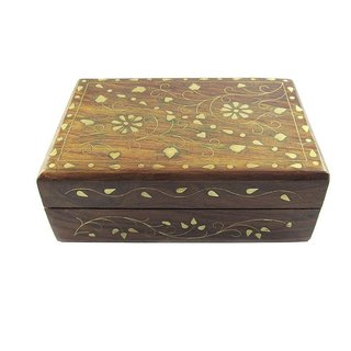 Desi Karigar Beautiful wooden small jwellery box with brass inlay work