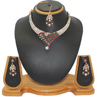 Soni Art Jewellery Simple diamond necklace set (0009)