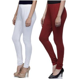 Laabha Women Multicolour Cotton Lycra Churidar Leggings Combo (Pack 2)