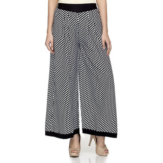 Laabha WomenS BlackWhite Printed Flaired Plazzo