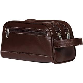 6ccc881dda21 Buy Leather World Trendy Brown Genuine Leather Travel Shaving Kit ...