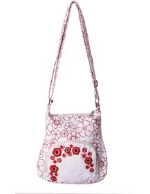 Bf White Canvas With Red Colour Flower And Red Flower E