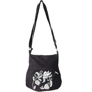 877bcd4eb71 Buy Bf Black Canvas and White embriodary Sling Bag Online - Get 35% Off