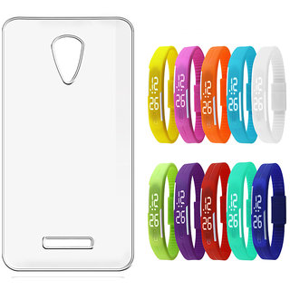 Soft Transparent Back Cover for Micromax Canvas 6 E485 with LED Waterproof Jelly Digital Watch