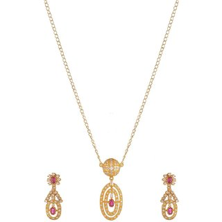 World of Silver Gold-Pink 92.5 Sterling Silver Pendant Set for Women
