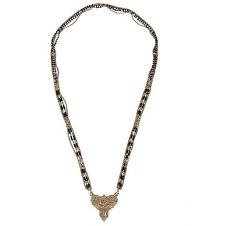 Biyu Antique Design 4 Line Black Beads Gold Plated Zinc Alloy Mangalsutra