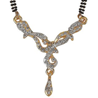 Biyu New Design Black Beads Gold Plated Zinc Alloy Mangalsutra