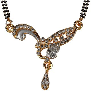 Biyu Latest Design Balck Beads Gold Plated Zinc Alloy Mangalsutra