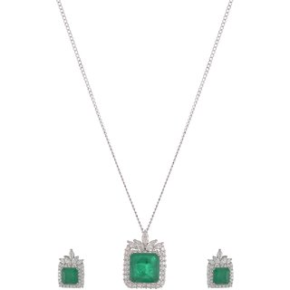 World of Silver Green 92.5 Sterling Silver Pendant Set for Women