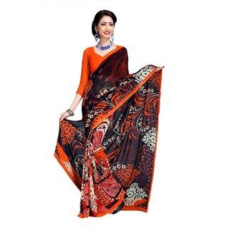 41c883f3880 Buy Snapshopees Designer Printed Daily Wear Georgette Sari(Orange ...