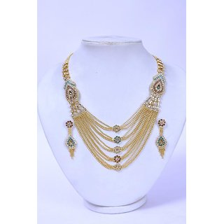 Antique Kunda U Designe Adorable Traditional  Necklace Set / Jewellery Set with Earrings For Women