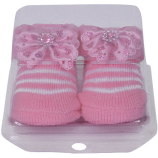 Jyonee Lifestyle pink color flower booties for kids