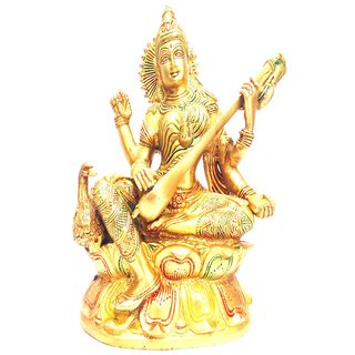 Divine Gods Lord Saraswati brass statue and Idol - 22.9 cms