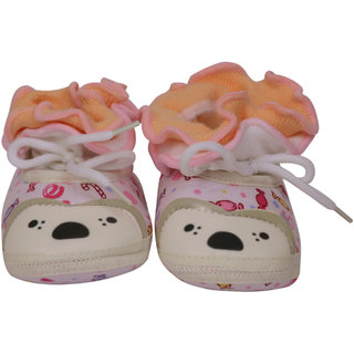 Jyonee Lifestyle pink color lace booties for kids