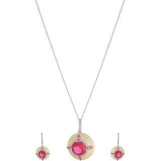 World of Silver Pink 92.5 Sterling Silver Pendant Set for Women