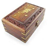 Desi Karigar  Wooden Antique Handcrafted Decorative Jewellery Storage Box Size(LxBxH-6x4x2.5) Inch
