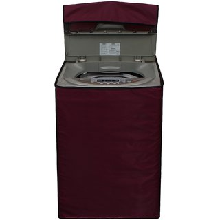Glassiano Mehroon Waterproof  Dustproof Washing Machine Cover for Haier HSW72-588A fully automatic 7.2 kg washing machine