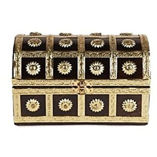 Desi Karigar  Wooden Antique Brown Jewellery Box with Handicraft 7x4.5x5 Inch