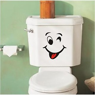 Bathroom, Toilet, Funny Face Wall Vinyl Sticker Sticker Gift 36