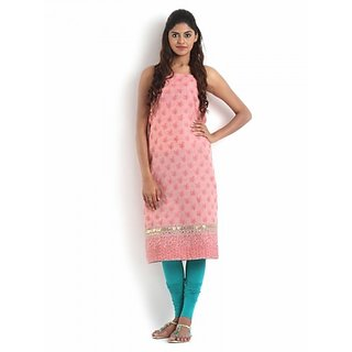 Peach Cotton Chikankari Kurta with Gota-Patti