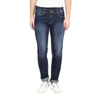 Mens Dark Stone Wash Straight Fit Jeans (Dark Blue)