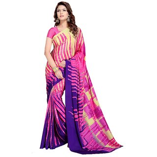 Snapshopees Casual Printed Daily Wear Georgette Sarees(Pink)
