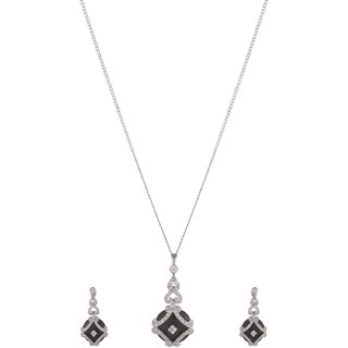 World of Silver Black 92.5 Sterling Silver Pendant Set for Women