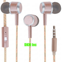 DKM Inc Limited Edition Universal Rose Gold Nylon Perfume Wire In Ear Earphones with Mic for iBall Phones