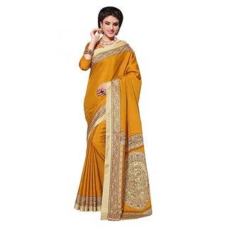 Sareemall Yellow Art Silk Printed Saree With Blouse