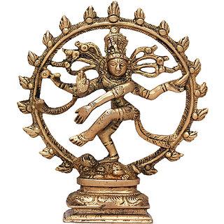 Hellopunditji Natraj (Dancing Shiv) Brass Idol Showpiece - 15 cm