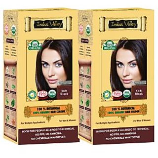 Indus valley 100 Organic Botanical Soft Black hair color (Twin Pack)