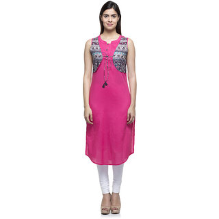 Laabha womens cotton pink apple cut with printed jacket attached fancy cord  straight kurti 40f8d61f4