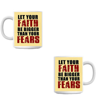 Faith Fear White Coffee Mug