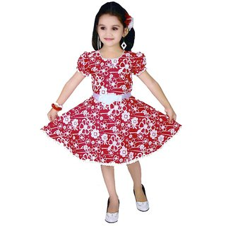 Sarrah Girls Red & White Floral Dress (Size: 32)