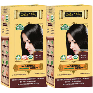 Indus valley 100 Organic Botanical Indus Black- Ecocert certified hair color (Twin Pack)