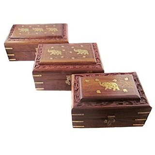 Desi Karigar Wooden Handcrafted Decorative Jewellery Storage Box Size(LxBxH-8x5x2.5) Inch Set Of 3