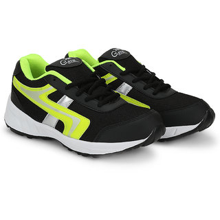 Gatik Mens Black  Green Sports Shoes