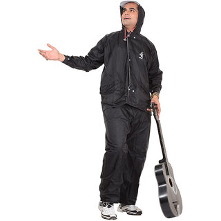 ALLWIN Raincoat Rainsuit Full Sleeve Jacket with Detachable Hood, Pant  Reversible, PV-901ABLACKXXL