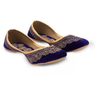 Great Art Rajasthani Jaipuri Jodhpuri Girls Women Rajasthani Royal Blue Velvet Stylish Flat Ballerina Sandals