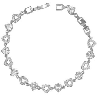 Glitters Silver Rhodium Plated Cubic Zircon Adjustable Imported Bracelet for Girls.