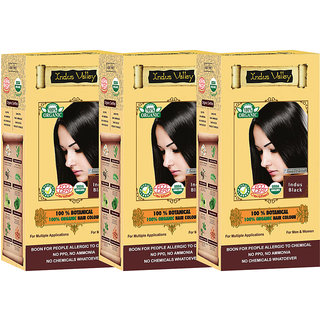 Indus valley 100 Organic Botanical Indus Black- Dermatologists Recommended (Triple Pack) Hair Color