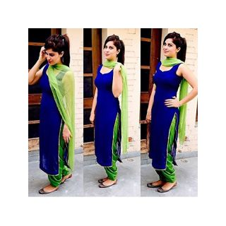 Pushty Fashion Blue and Green Cotton Salwar Kameez