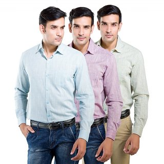 LNY Mens Cotton Casual Shirt - LNY111749 (Pack of 3)