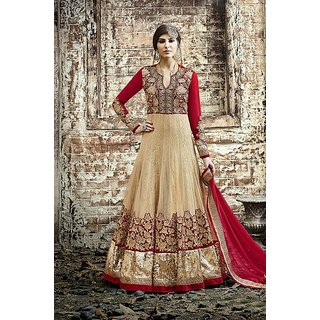 Thankar Beige  Red Embroidered Net Anarkali Suit