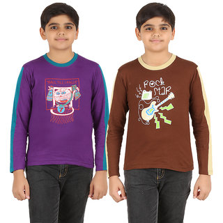 ZIPPY Boys Full Sleeve Purple And Brown Color T-Shirts