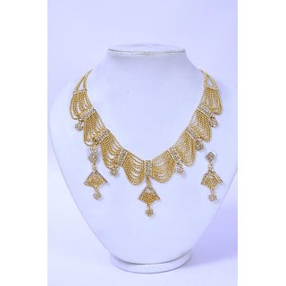 Antique Kundan Traditional Maharani Temple Necklace Set / Jewellery Set with Earrings For Women
