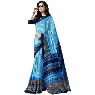 Snapshopees Designer Printed Daily Wear Turkey Chiffon Saree(Blue)