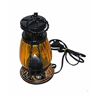 Desi Karigar Wooden  Iron hand carved Colored Electric Chimney Lantern design YELLOW