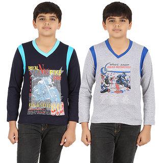 ZIPPY Boys Full Sleeve Navy And Grey Color T-Shirts