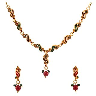 Kriaa Alloy Maroon  Green Ethnic Necklace Set -1100831